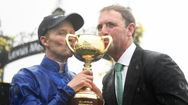 Charlie Appleby (right) and Kerrin McEvoy celebrate winning the Melbourne Cup