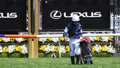 Lonely walk: Ryan Moore makes his way back to the weighing room after The Cliffsofmoher broke down on the fist circuit of the Melbourne Cup