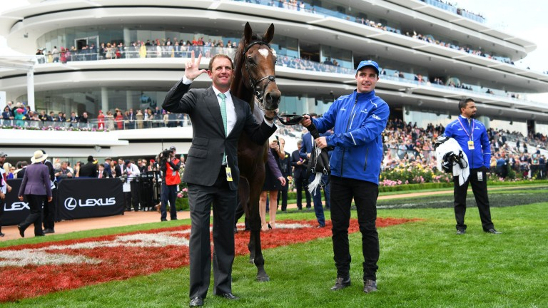 Winning feeling: Charlie Appleby poses with Cross Counter after his Melbourne Cup victory