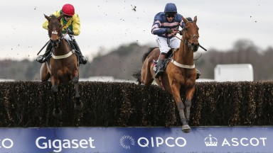 ASCOT, ENGLAND - DECEMBER 22:  Jamie Moore riding Benatar (R) clear the last to win The Mitie Noel Novicesâ Steeple Chase from Finianâs Oscar (L) at Ascot racecourse on December 22, 2017 in Ascot, United Kingdom. (Photo by Alan Crowhurst/Getty Images)