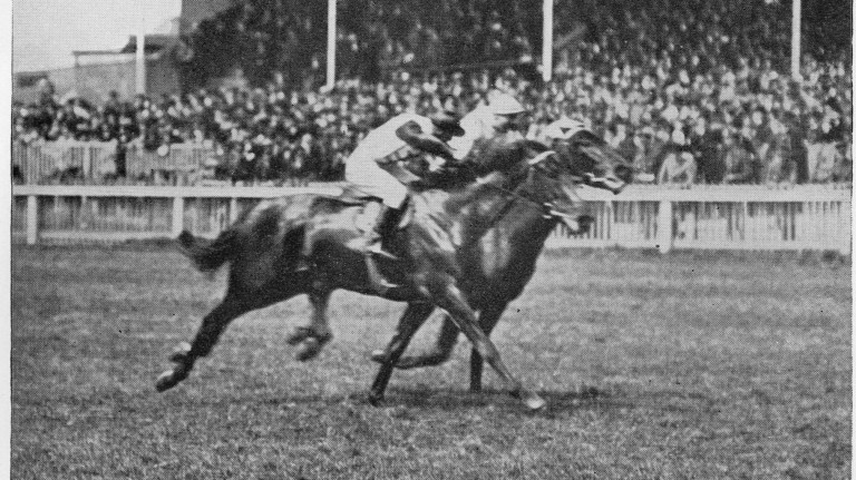 Gay Crusader (near side) wins the 2,000 Guineas in 2017, as racing continued at HQ during the war