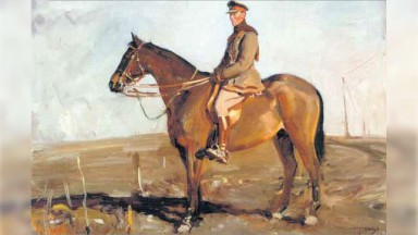 A painting by Sir Alfred Munnings of General Jack Seely on Warrior