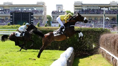 In his prime... Storm Of Saintly and a young Vincent Cheminaud on their way to glory in the Grand Steeple-Chase de Paris in 2014