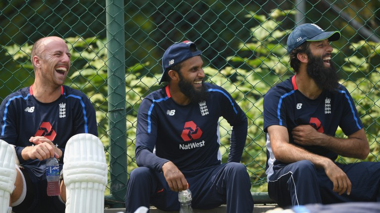 Spinners Jack Leach, Adil Rashid and Moeen Ali enjoy a chuckle during net practice