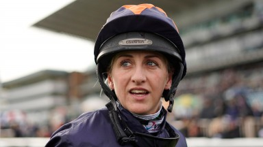 DONCASTER, ENGLAND - OCTOBER 27: Josephine Gordon poses at Doncaster Racecourse on October 27, 2018 in Doncaster, England. (Photo by Alan Crowhurst/Getty Images)