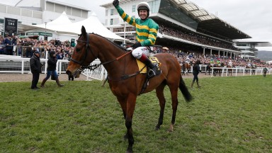 Defi Du Seuil and Richard Johnson celebrate their Triumph Hurdle success at Cheltenham in 2017
