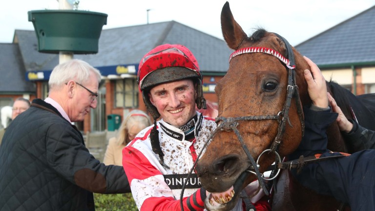 The one-eared Ryalex and Stephen Mulqueen after victory in the 2m4f handicap chase