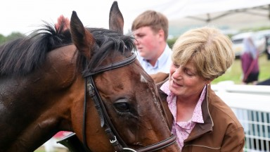 Trainer Julia Brooke with STAGS LEAP after  training a double at Cartmel 23/7/18Photograph by Grossick Racing Photography 0771 046 1723