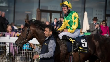 Barbill and John Egan pictured after winning the Tattersalls Ireland sales race at the Curragh over Irish Champions Weekend