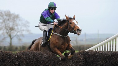 Angelic Moon and Lar O'Carroll jump the last to land the mares' maiden at Loughanmore
