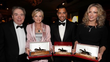 Andrew and Madeleine Lloyd Webber with Sheikh Fahad and Shiekha Melissa, celebrating the Cartier awards of Too Darn Hot and Roaring Lion