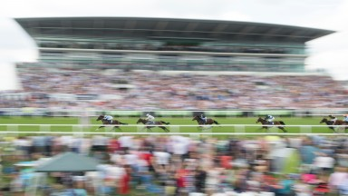 All a blur as De Bruyne Horse (Ryan Moore) speeds to his Woodcote win at Epsom last year