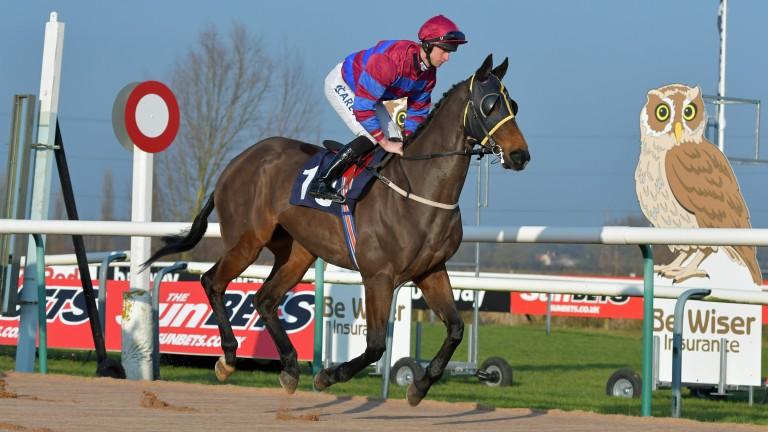 Southwell legend General Tufto canters on air to the post for a race there last year
