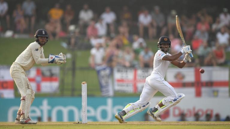 Roshen Silva cuts the ball on the way to his Sri Lanka innings defining 85