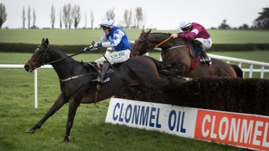 Kemboy and Paul Townend lead over the last in the Clonmel Oil Chase