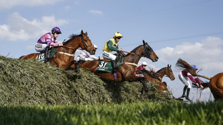 Bryony Frost and Milansbar (31) in action during the 2018 Grand National - the pair finished fifth