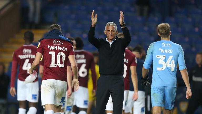 Northampton manager Keith Curle applauds the fans