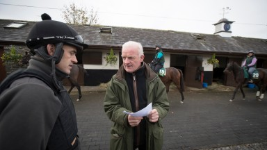 Willie Mullins with stable jockey Ruby Walsh in the yard at Closutton