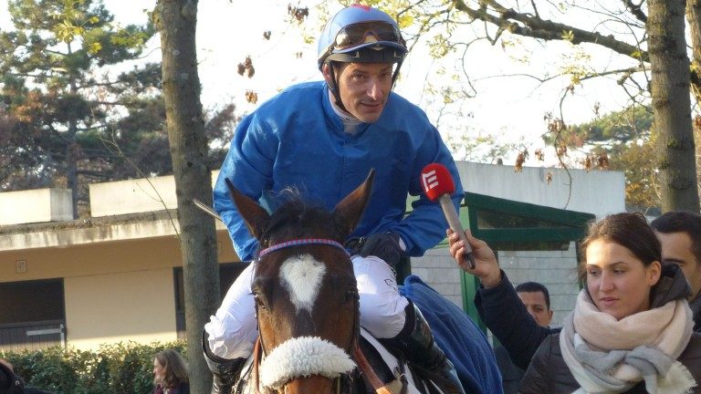 Soon-to-retire Jacques Ricou is interviewed after landing the big of the day at Auteuil