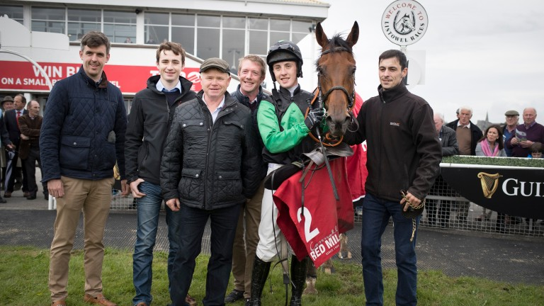 Whatsafellatodo and Liam Gilligan wins the Connolly's Red Mills EBF Auction Maiden Hurdle.Listowel.Photo: Patrick McCann/Racing Post 11.09.2018