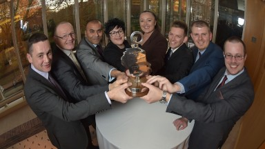 Betting Shop Manager of the Year finalists (from left) Ben Shaldon, Kevin Gray, Amran Ul-Haque, Lorraine Archibald, Sascha Drape, David Monk, Michael Strain and Ainsley Bowstead
