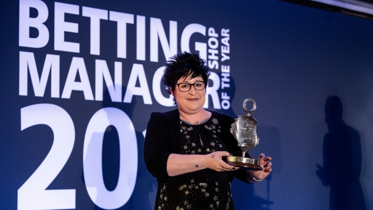 Lorraine Archibald celebrates winning Betting Shop Manager Of The Year