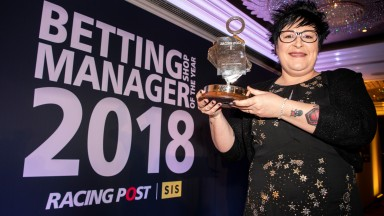 Lorraine Archibald of Ladbrokes wins Betting Shop Manager Of The Year 2018 at the Carlton Tower Hotel in London