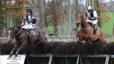 Beyond Redemption (left) and Muckamore, who both fetched six-figure sums at Cheltenham, in action at Loughanmore