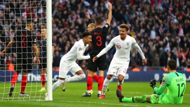 Jesse Lingard wheels away after scoring Eng;and's equaliser against Croatia