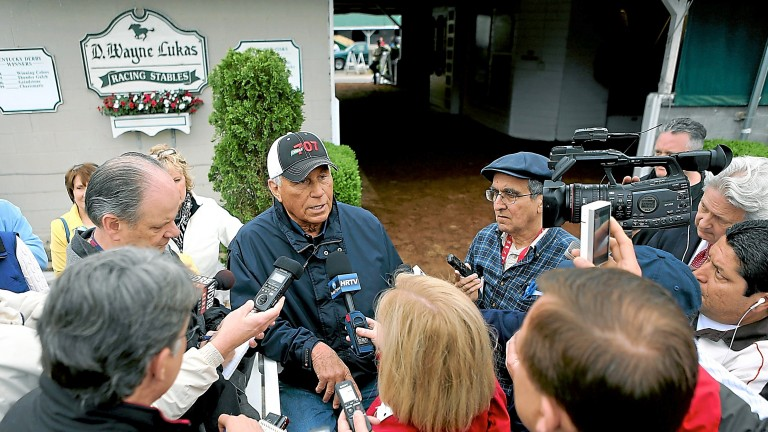 LOUISVILLE, KY - APRIL 29: Trainer D. Wayne Lukas fields questions from the media after the morning excercise session in preparation for the 139th Kentucky Derby at Churchill Downs on April 29, 2013 in Louisville, Kentucky.  (Photo by Matthew Stockman/Get