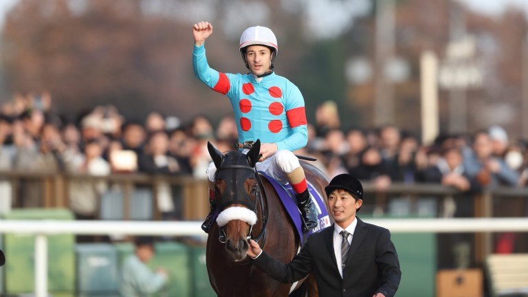 Christophe Lemaire celebrates Almond Eye's win