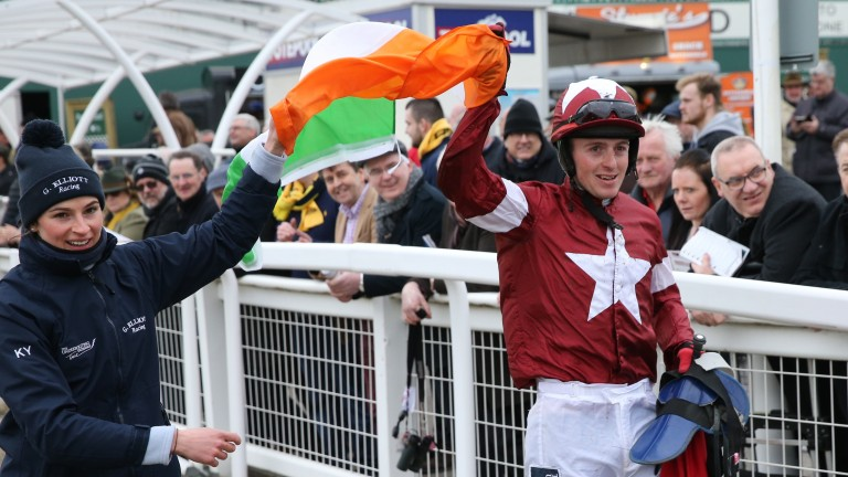 Keith Donoghue after his victory on Tiger Roll in the Cross Country Chase at the Cheltenham Festival