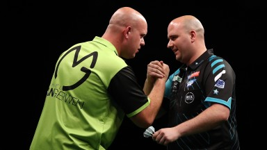 Michael van Gerwen (left) and Rob Cross have been handed contrasting draws at Ally Pally