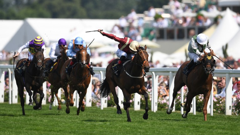 Heartache (centre) storms clear in the 2017 Queen Mary Stakes at Royal Ascot