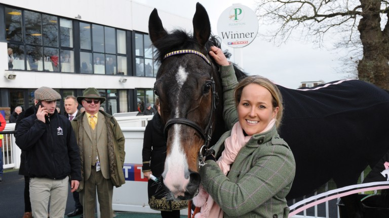 All smiles: trainer Amy Murphy with her stable star Kalashnikov after victory at Plumpton
