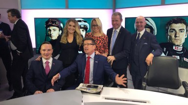 A selection of the Sky Sports Racing team (left to right): Freddy Tylicki, Hayley Moore, Jason Weaver, Alex Hammond, Mick Fitzgerald and Luke Harvey