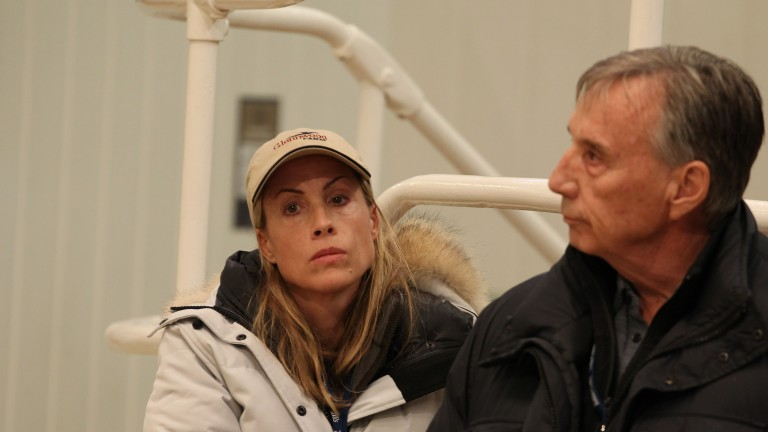Tanya and John Gunther in the bidders' area before securing Weekday for 400,000gns