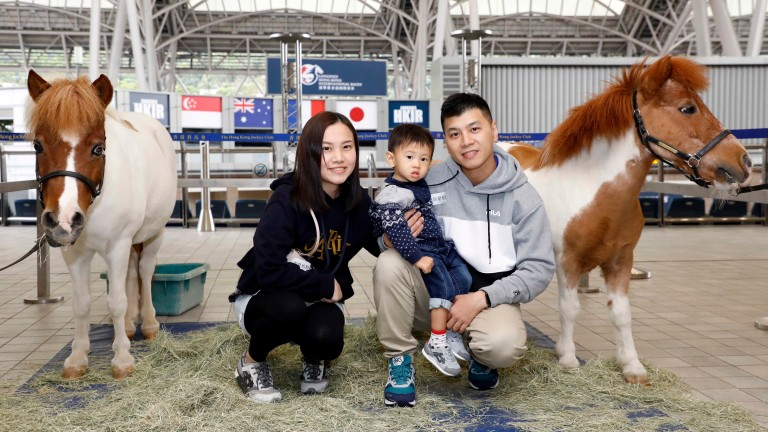 Families were given the opportunity to meet a pair of Shetlands at Sha Tin on Saturday