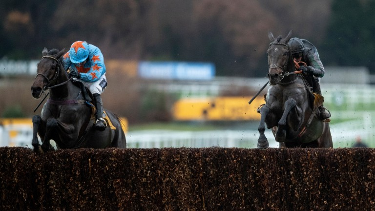 Altior (right) and Un De Sceaux jump the last as one, but up the run-in it was no contest with Nico de Boinville's mount winning easily