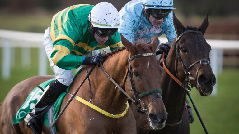 De Name Escapes Me wins the feature handicap chase at Navan in unextended fashion for Slippers Madden