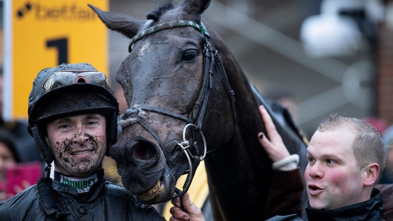 Altior and Nico de Boinville after winning the Tingle Creek