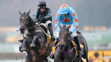 ESHER, ENGLAND - DECEMBER 08: Nico de Boinville riding Altior (L) on their way to winning The Betfair Tingle Creek Chase at Sandown Park Racecourse on December 08, 2018 in Esher, England. (Photo by Alan Crowhurst/Getty Images)