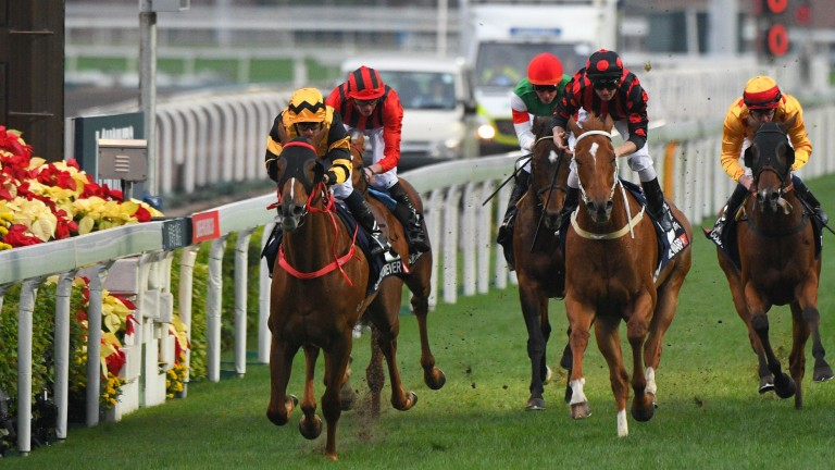 Glorious Forever (left) scores in the Group 1 Hong Kong Cup