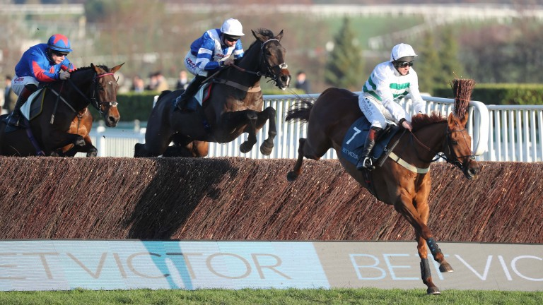 Baron Alco (Jamie Moore) leads Frodon over the last in the BetVictor Gold Cup at Cheltenham last month