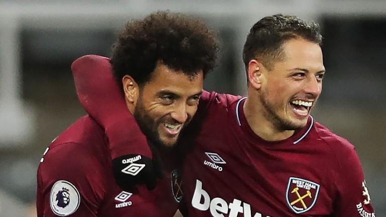 West Ham's Felipe Anderson and Javier Hernandez