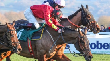 COGRY (Red & Black cap) ridden by Sam Twiston-Davies wins at Cheltenham 14/12/18 Photograph by Grossick Racing Photography 0771 046 1723