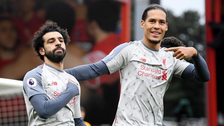 Liverpool stars Mohamed Salah and Virgil van Dijk celebrate at Bournemouth