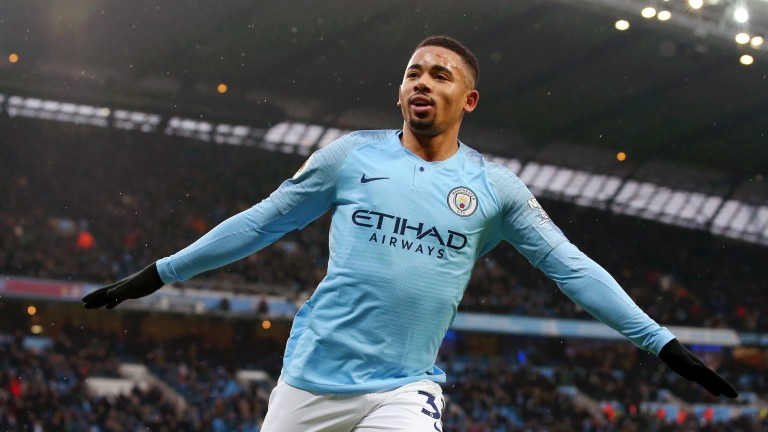 Manchester City's Gabriel Jesus scored twice in the win over Everton in December