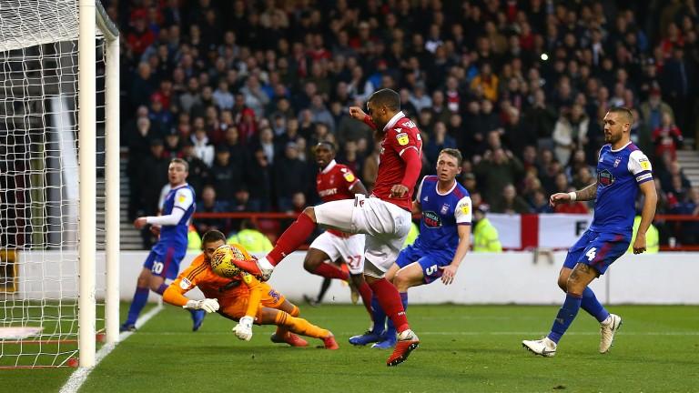 Forest's Lewis Grabban scores against Ipswich