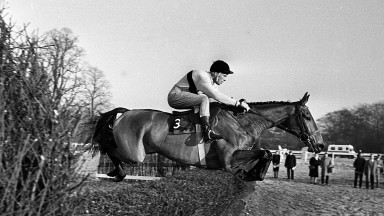 Arkle and Pat Taaffe soar over Kempton's birch to land the 1965 King George VI Chase